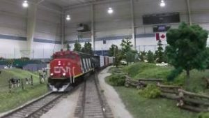 Running the Multi-club Freemo HO model train layout at Salmon Arm in 2016