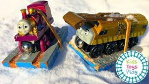 Toy Train Snow Races with Thomas and Friends!