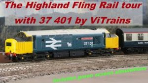 The Highland Fling Rail tour with 37 401 by ViTrains Model train in real scenery Back to 1990