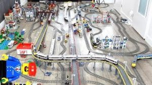 Massive Lego train layout with 9 running Lego trains (Remake)