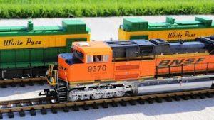 BNSF Model Train On A Big Outdoor Layout