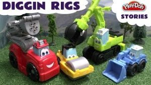 Play-Doh Diggin Rigs Accident and Crash Rescue Stories with Toy Trains