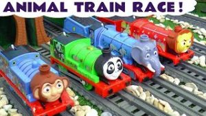 Trackmaster Thomas and Friends Animal Train Race by Toy Trains 4u