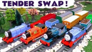 4 Thomas and Friends Trains SWAP Tenders in this Toy Train Story for Kids