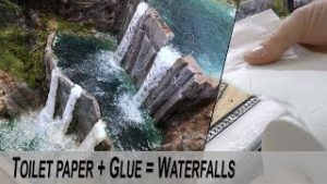 Toilet paper + Glue = Realistic Waterfalls
