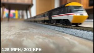 Model trains running at scale speed