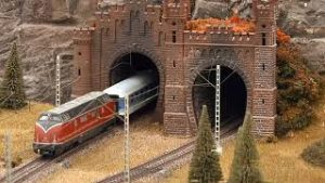 Model trains in action on HO scale layout modules