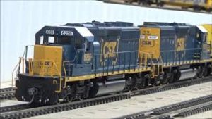 Long Ho scale model train with CSX Athearn Blue box engines with Mid train helpers