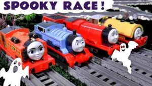 4 Thomas and Friends Toy Trains race with Spooky Halloween Funny Funlings
