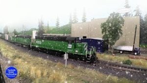 Burlington Northern Model Trains In Action On A Snowy Christmas Eve