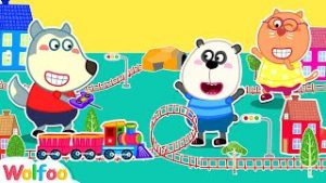 Wolfoo Pretend Play Delivery Service with Toy Trains Track for Kids l Wolfoo Family Kids Cartoon