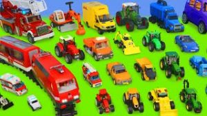 Concrete Mixer, Fire Truck, Tractor, Garbage Trucks, Cars & Trains   Toy Vehicles for Kids