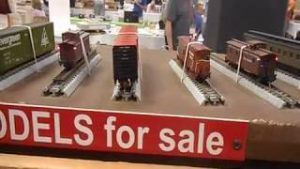 N-scale model train railroad layout show with swaparama for sale and dealer layouts.