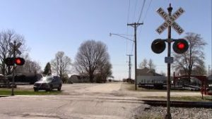 Hoop Street Railroad Crossing Activated – Track Work in Flora, Indiana