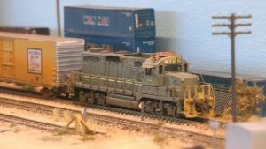 N scale model railroad layout with freight trains
